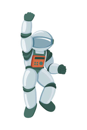 Professional spaceman in modern pressure suit with oxygen balon on back and tinted helmet isolated cartoon vector illustration on white background. Emotional triumph, winning and victory