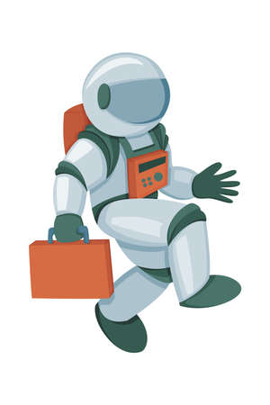 Professional spaceman in modern pressure suit with oxygen balon on back and tinted helmet isolated cartoon vector illustration on white background. Goes to work with a case like businessman or clerk Vektoros illusztráció