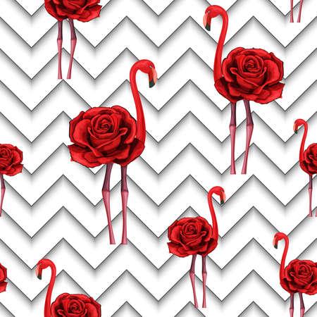Las modernas líneas en zigzag se imprimen con rosas rojas bordadas y flamencos. Diseño textil de patrones sin fisuras para envolver papel, cuadros, bufandas. Flor roja sobre fondo geométrico blanco y negro Ilustración de vector