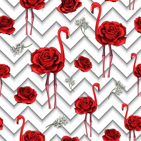 Trendy zigzag lines print with embroidered red roses and flamingo. Seamless pattern textile design for wrapping paper, plaids, scarfs. Red flower on black and white geometric background