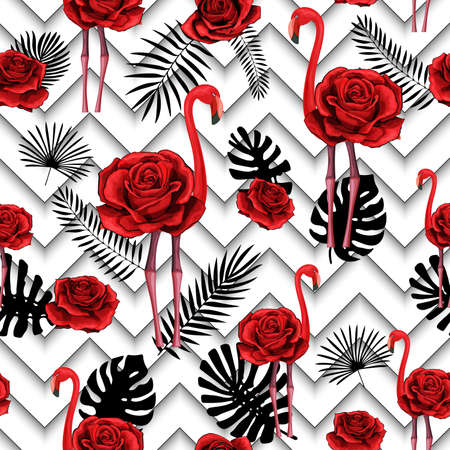 Trendy zigzag lines print with embroidered red roses and flamingo. Seamless pattern textile, wrapping paper, plaids, scarfs. Red flower and tropical silhouettes on black and white geometric background