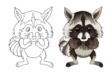 Raccoon funny animal cartoon halftone colored character coloration book isolated on white. Vector postcard artwork. Illustration, gift greeting card, branding, logo, label, emblem, vlentines
