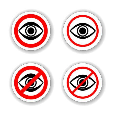 Circle Warinig No Peeping Prohibited Sign Infographics , Sticker, Icon or Label Illustration