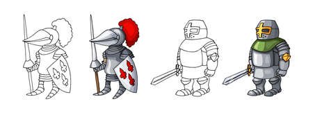 Cartoon medieval confident armed knights, isolated on white background colorings