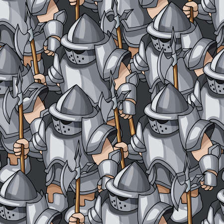 Medieval armored knights formation cartoon hand drawn seamless pattern. Warriors, paladins, crusaders, guards with ancient cold weapons