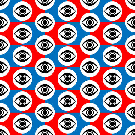Abstract Seamless Red Blue, Black and White Geometric Pattern with Blinking Eyes