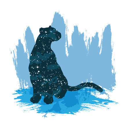 Illustration of a night sky leopard. Vector print isolated on white background Illustration
