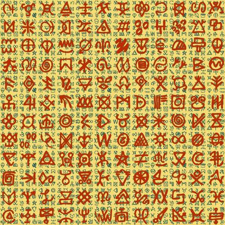 Vector illustration of Egyptian like ornaments and hieroglyphs on background Illustration