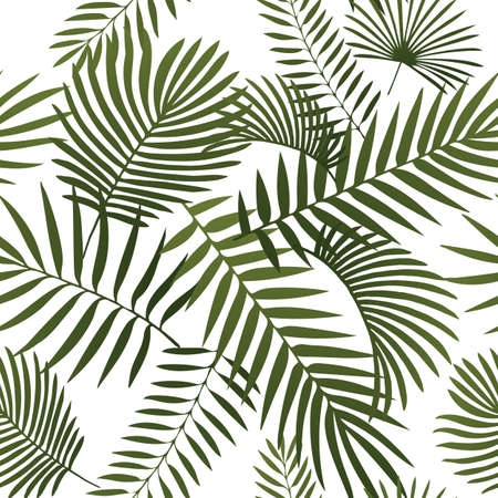 Green tropical leaves. Seamless graphic design with amazing palms. Fashion, interior, wrapping, packaging suitable. Realistic palm leaves. Vertical layout. leaves growing upwards. 版權商用圖片 - 124762177