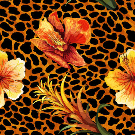Beautiful blooming flower on animal skin. Leopard seamless pattern vector print, design for fashion, fabric, wallpaper and all prints on contrast color background Illustration
