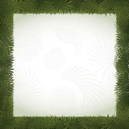 Paper art natural style border frame with various cut cardboard tropical plant leaves with copy space - eco vector illustration. Folded foliage in green colors. Square card form