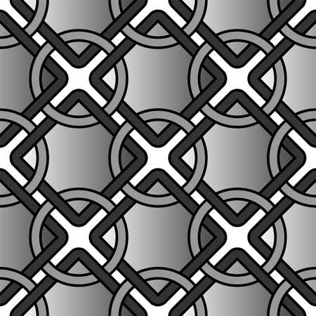 Vector geometric background with circles, rings and square grid, repeat tiles. Simple abstract monochrome seamless pattern. Design texture for decor, prints, fabrics Ilustrace
