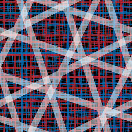 Horizontal, vertical and angeled fiber stripes isolated on own layers. Imitation linen threads texture seamless pattern. White, red and blue stripes on black background. Grunge vector illustration Illustration