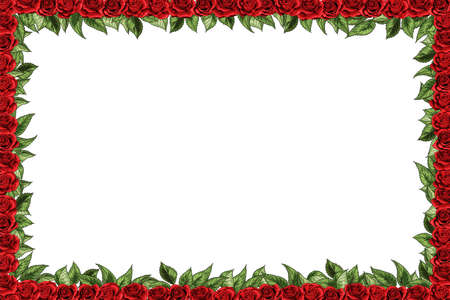Elegant autumn floral bouquet vector design frame. Burgundy red roses and green leaves. Seasonal card, menu, wedding, save the date. Isolated blank space