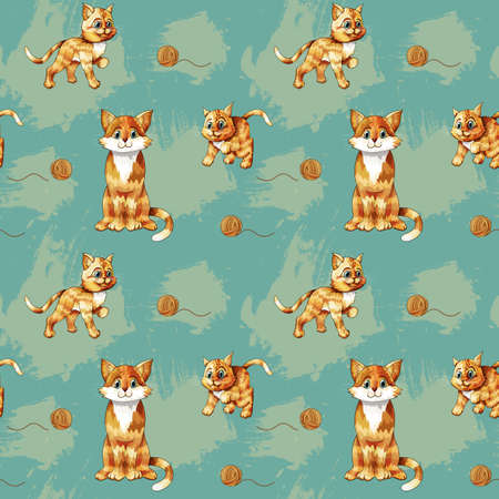 Vector seamless pattern of cartoon ginger cats on colored background. Can use ornament for printing on textile or gift wrap and wallpapers