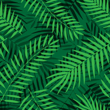 Vector Tropical palm leaves seamless pattern. Jungle floral ornamental background. Florals for your poster, banner flayer, advertisement design. Trendy background with palm texture.