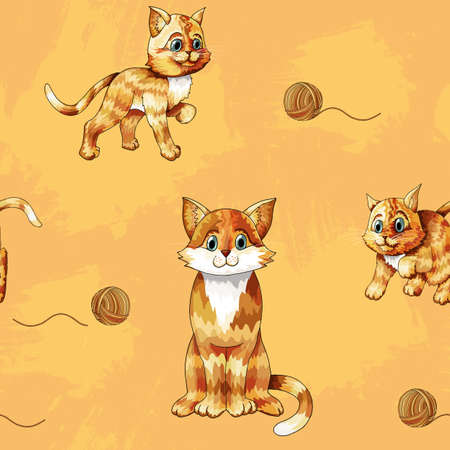 Vector seamless pattern of cartoon ginger cats on colored background Standard-Bild - 123360242