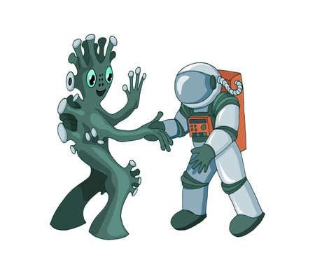 Cartoon alien meeting and handshake in space isolated on white background Illustration