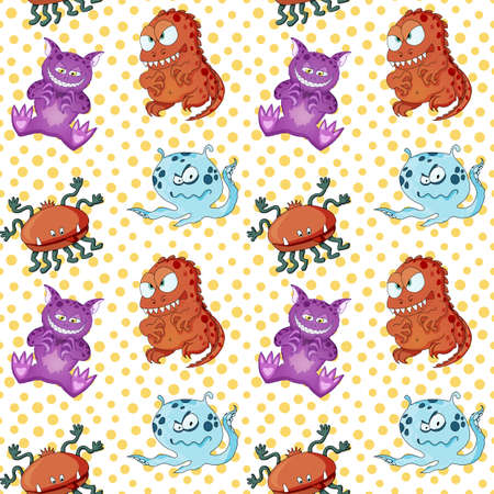 A seamless background pattern of happy, floating, cartoon, vector aliens monsters. Kiddy wallpaper or linen cloth textile design. Birthday wrapping paper.