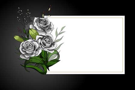 Bouquet di fiori di rose bianche su cornice bianca con bordo nero. Salva la data, la simpatia, le condoglianze o il modello vettoriale della cartolina in stile rigoroso. Vettoriali