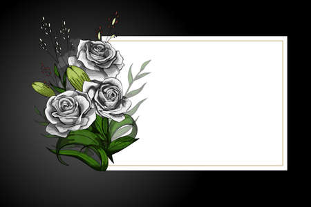White rose flower bouquet on white frame with black border. Save the date, sympathy, condolences or strict style postcard vector template.