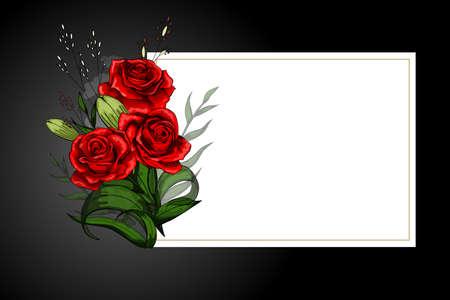 Bouquet di fiori di rose rosse su cornice bianca con bordo nero. Salva la data, la simpatia, le condoglianze o il modello vettoriale della cartolina in stile rigoroso.