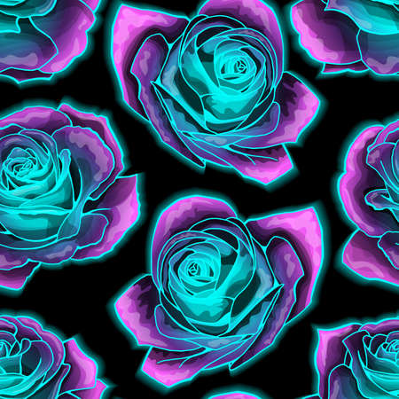 Vector seamless pattern with mysterious neon glowing roses. Vibrant and fluorescent, blossomng wonderland. Used as web wallpaper, poster, background. Vettoriali