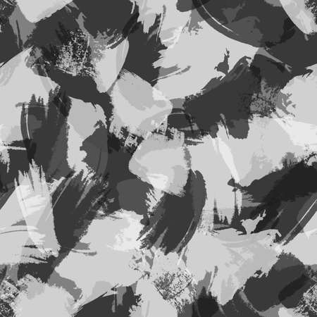 Grayscale geometric ink grunge seamless pattern with hand drawn brush strokes and paint splashes, geometrical shapes. Monochrome messy texture, grungy background. Vector.