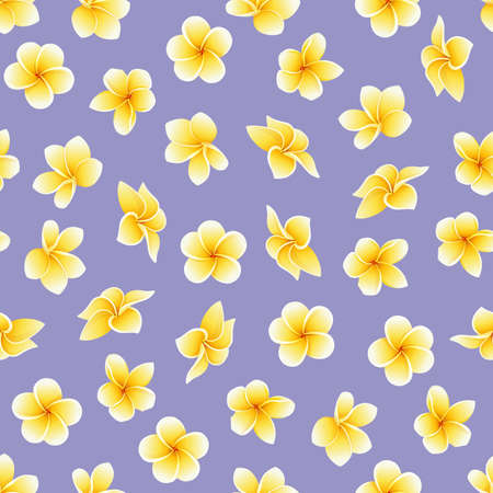 Vector seamless pattern with flower of Plumeria or Frangipani in yellow on the violaceous background. National flower of Laos and Bali. Floral background in mesh style for summer design