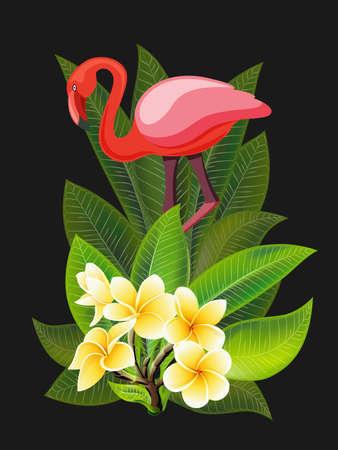 Bannière tropicale de vecteur. Conception estivale pour la publicité avec flamant rose, feuilles tropicales et fleurs isolées sur fond noir. Image avec des fleurs de plumeria, une feuille de palmier exotique de la jungle, une orchidée et un oiseau exotique
