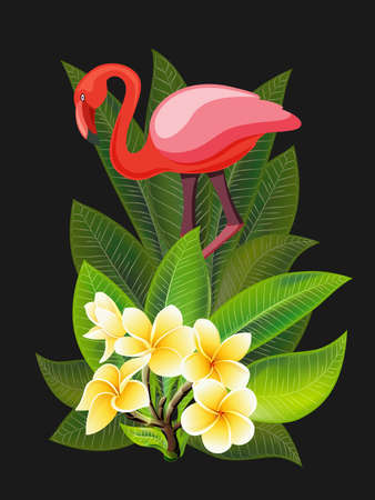Vector tropical banner. Summer design for advertising with flamingo, tropical leaves and flowers isolated on black. Image with plumeria flowers, jungle exotic palm leaf, orchid and exotic bird