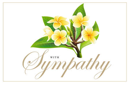 Golden frangipani or plumeria flowers with leaves, Design for invitation, wedding, sympathy condolences or greeting cards template. Vector Illustration Decorative bridal bouquet on white Background