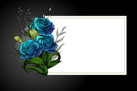 Blue rose flower bouquet on white frame with black border. Save the date, sympathy, condolences or strict style postcard vector template. Illustration