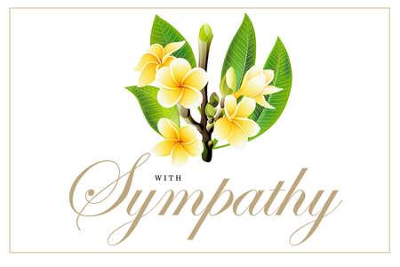Golden frangipani or plumeria flowers with leaves. Vector invitation Postcard Vector Illustration