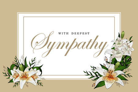 Condolences sympathy card floral lily bouquet and lettering Illustration