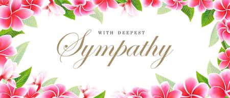 Postcard sympathy floral pink frangipani or plumeria bouquet and lettering Vector Illustration
