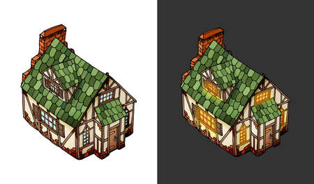 Vector isometric house. Old European mansion. Vector object with hover variant Ilustração