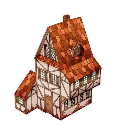 Maison isométrique de vecteur. Ancienne demeure européenne. Objet isolé de vecteur sur blanc