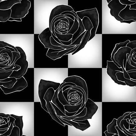 Black roses on chessboard background. Vector seamless pattern design