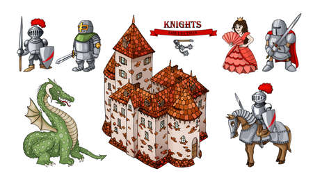 Medieval characters historical buildings cartoon objects set 向量圖像