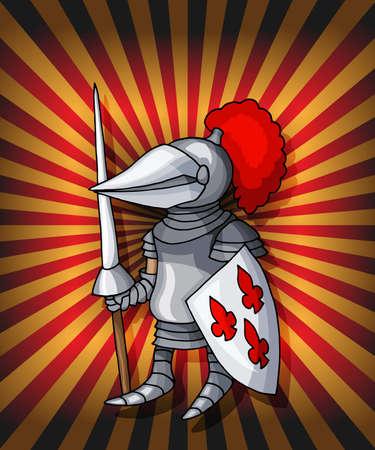 Cartoon postcard knight. Royal steel crusader armor on glittering red lights 向量圖像
