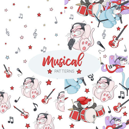 Seamless patterns set with cute cartoon musican kittens on white background