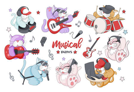 Vector set of funny little musical characters with different instruments 일러스트