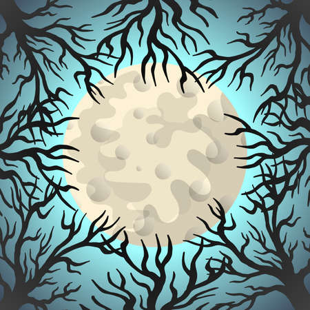 Mysterious night vector illustration. Old leafless trees and full moon