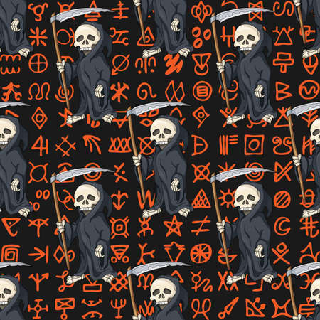 Halloween seamless pattern, background with cartoon skeletons