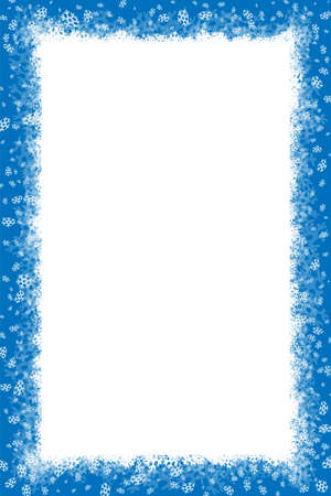 Merry Christmas Happy New Year border with white snowflakes winter background. Illustration