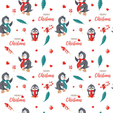 Seamless pattern with cute penguins. Hand-drawn vector illustration background