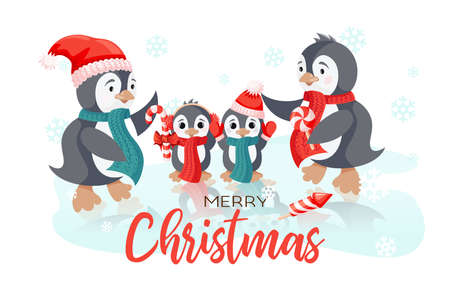 Winter Holiday vector christmas card with smiling cute penguins family