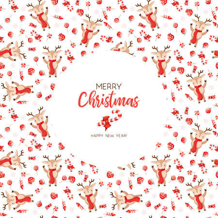 Postcard with christmas background. Hand-drawn vector illustration template Illustration