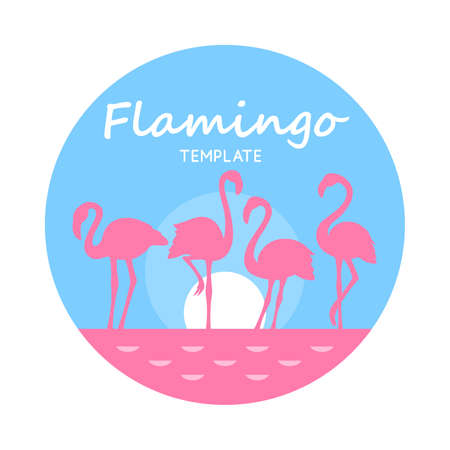 Round Card with pink flamingos on light blue isolated on white background